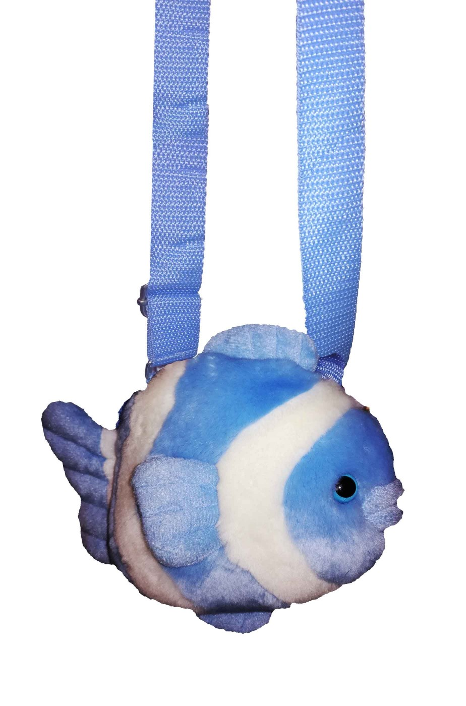 Borsetta a forma di pesce in pelouche azzurra e bianca