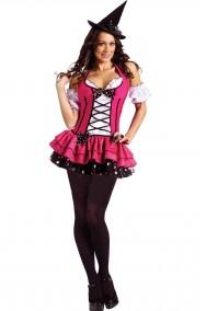 Costume da Strega rosa corto con corpetto donna adulta