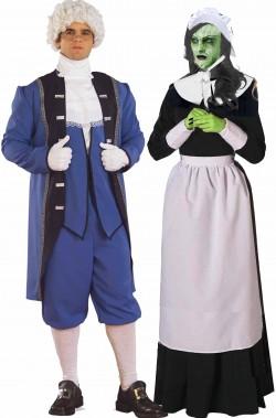 Coppia di costumi strega di Salem e inquisitore coloniali americani