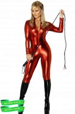 Tuta Rossa in poliestere lucido elasticizzato Elektra