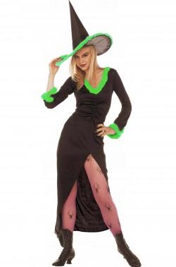 Costume donna Strega con marabou verde