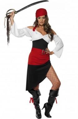 Costume donna pirata piratessa con gonna lunga e spacco