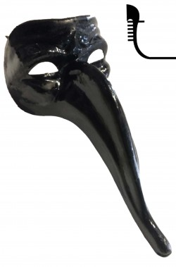 Maschera stile veneziano nera con nasone lungo Zanni Parnassus