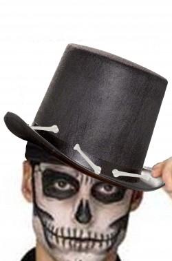 vendita online elegante limpido in vista Cappello a cilindro adulto nero Halloween con ossa