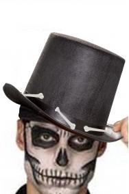 Cappello a cilindro adulto nero Halloween con ossa