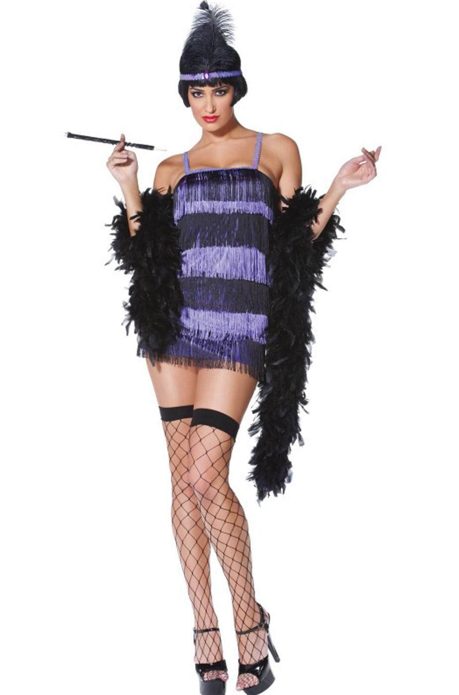 4e2f17ad7 Costume donna anni 20 30 chicago flapper viola e nero con frange