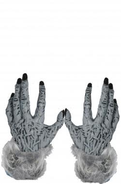 Guanti uomo lupo, lupo mannaro, licantropo grigi con pelo