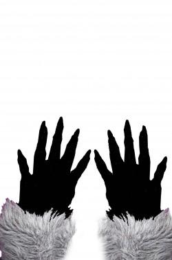 Guanti lupo o creatura halloween grigi con pelo adulto taglia unica