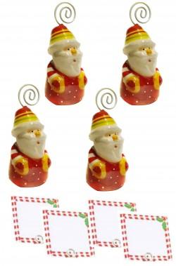 Segnaposto per Tavola o palline di Natale Babbo Natale 4 pezzi