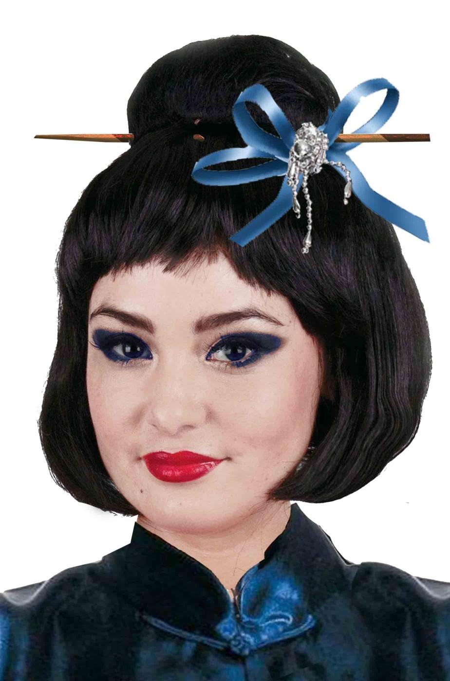 Parrucca donna Geisha giapponese con spillone fiocco e perline