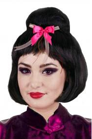 Parrucca donna Geisha giapponese con fiocco rosa