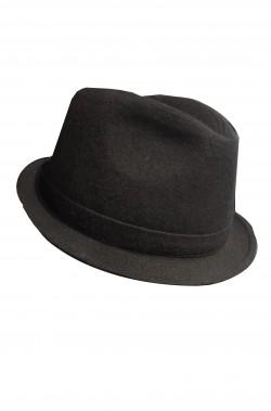 Cappello Gangster nero fedora corta in lana