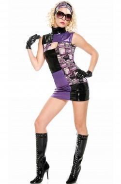 Costume donna Anni 60 e 70 a quadri psichedelico senza maniche CON ACCESSORI