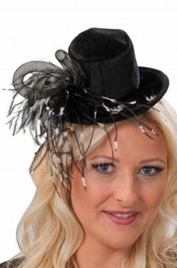 Mini cappello burlesque vittoriano 800 con cerchietto nero e bianco