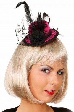 Mini Cappello Rosa e Nero anni 20 burlesque