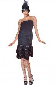 Vestito anni 20 o 30 chicago nero mille balze