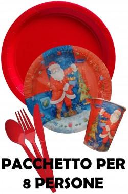 Natale Party Rosso pacchetto piatti, bicchieri, posate a tema Babbo Natale per 8 persone
