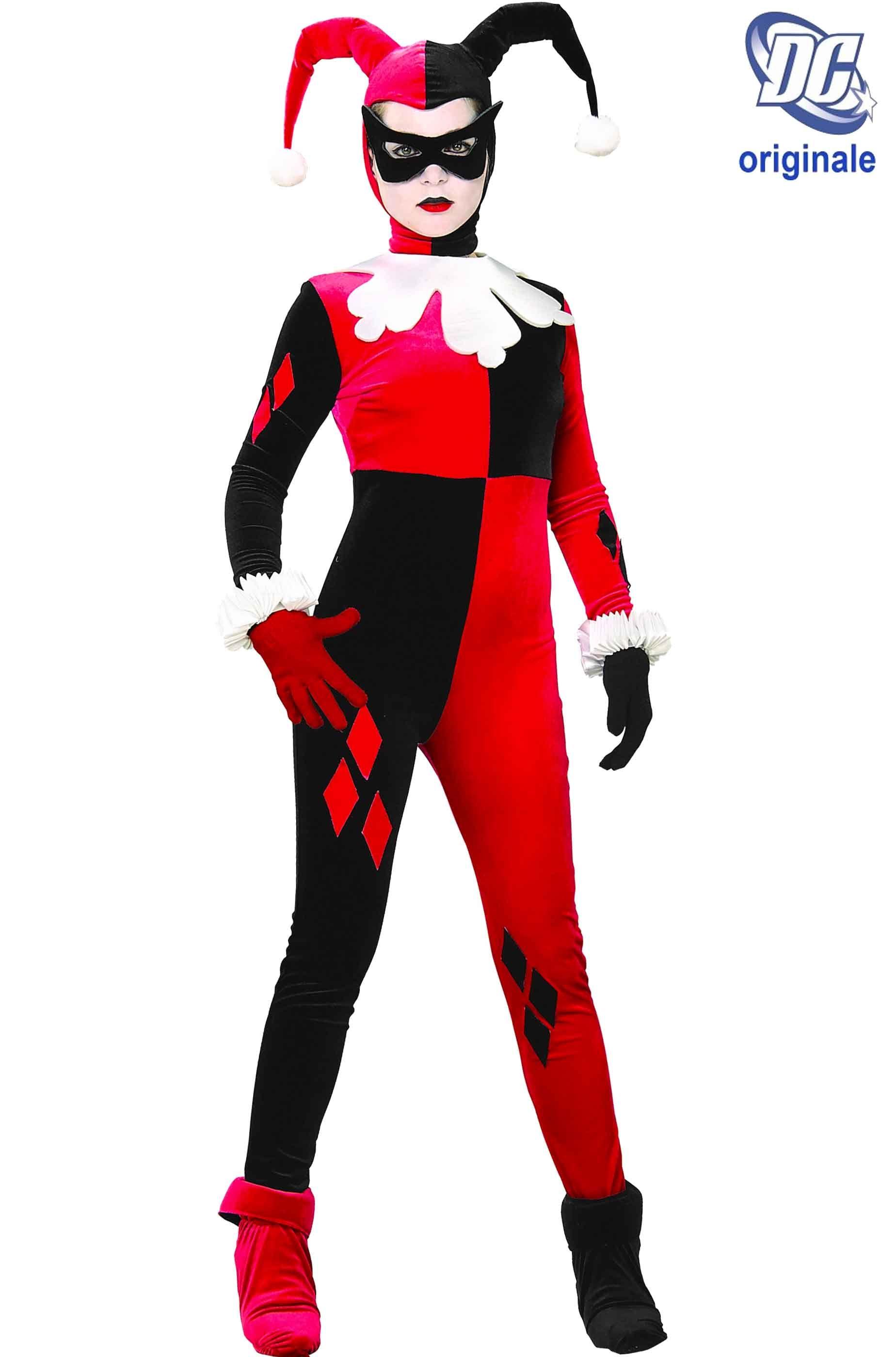 rapporto qualità-prezzo colore attraente vendite all'ingrosso Costume di Harley Quinn versione Comics Cartoon rosso e nero attillato