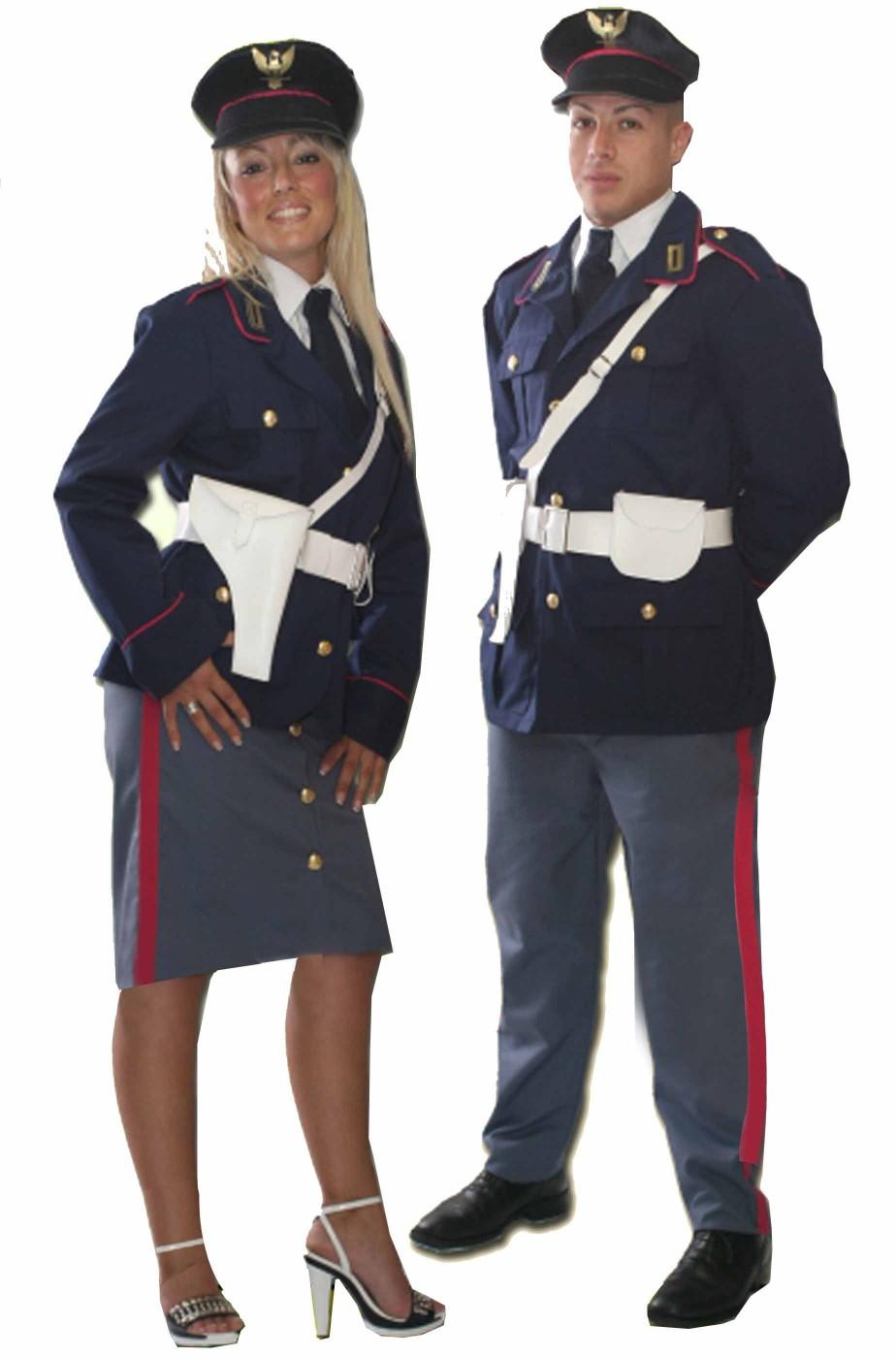 Coppia di costumi divisa da poliziotto italiano uomo e donna