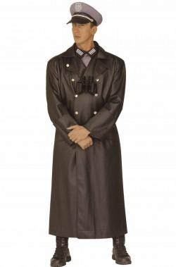 Cappotto nero da ufficiale nazista o russo in similpelle