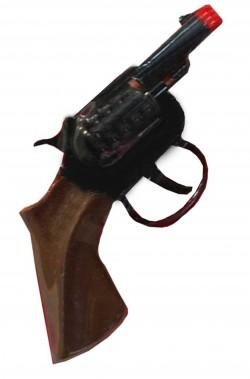 Pistola giocattolo mini revolver da detective FBI in metallo nera