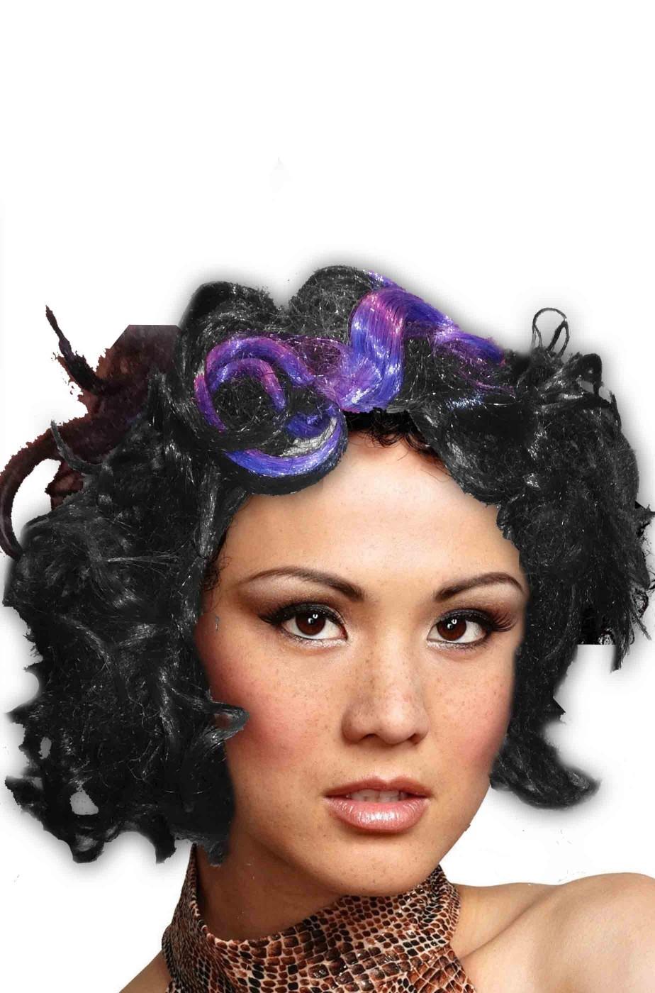 Parrucca nera con meche viola capelli corti mossi da strega 3227fb8283a7