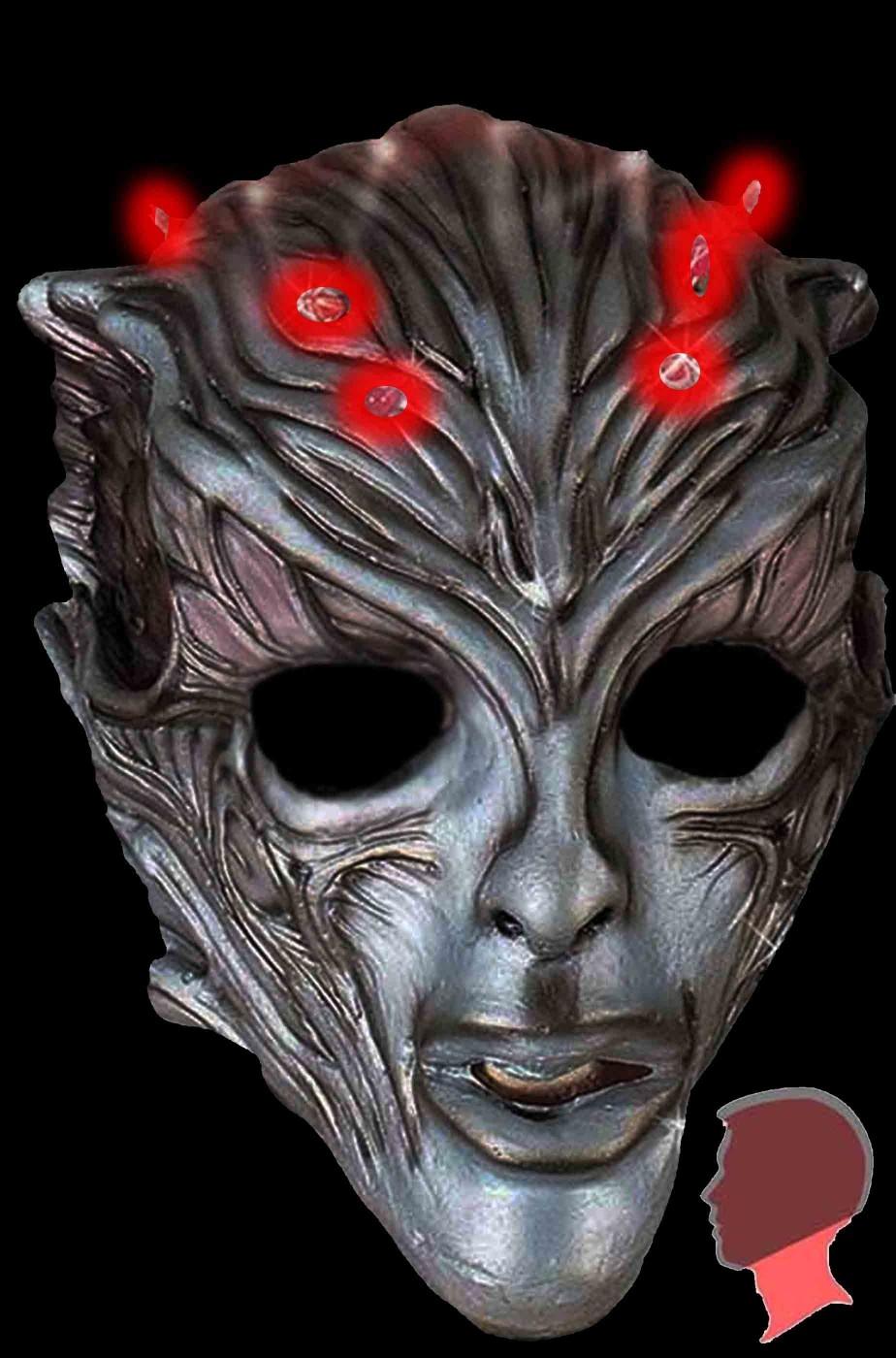 Maschera alieno androide con LED sulla fronte