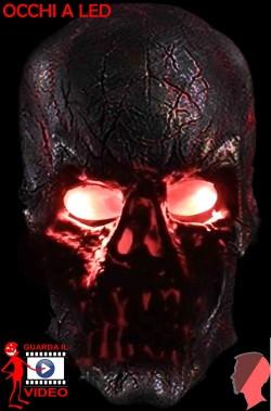 Maschera film Teschio Terminator con occhi luminosi