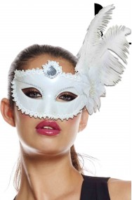 Maschera carnevale stile veneziano in pizzo e piume bianca