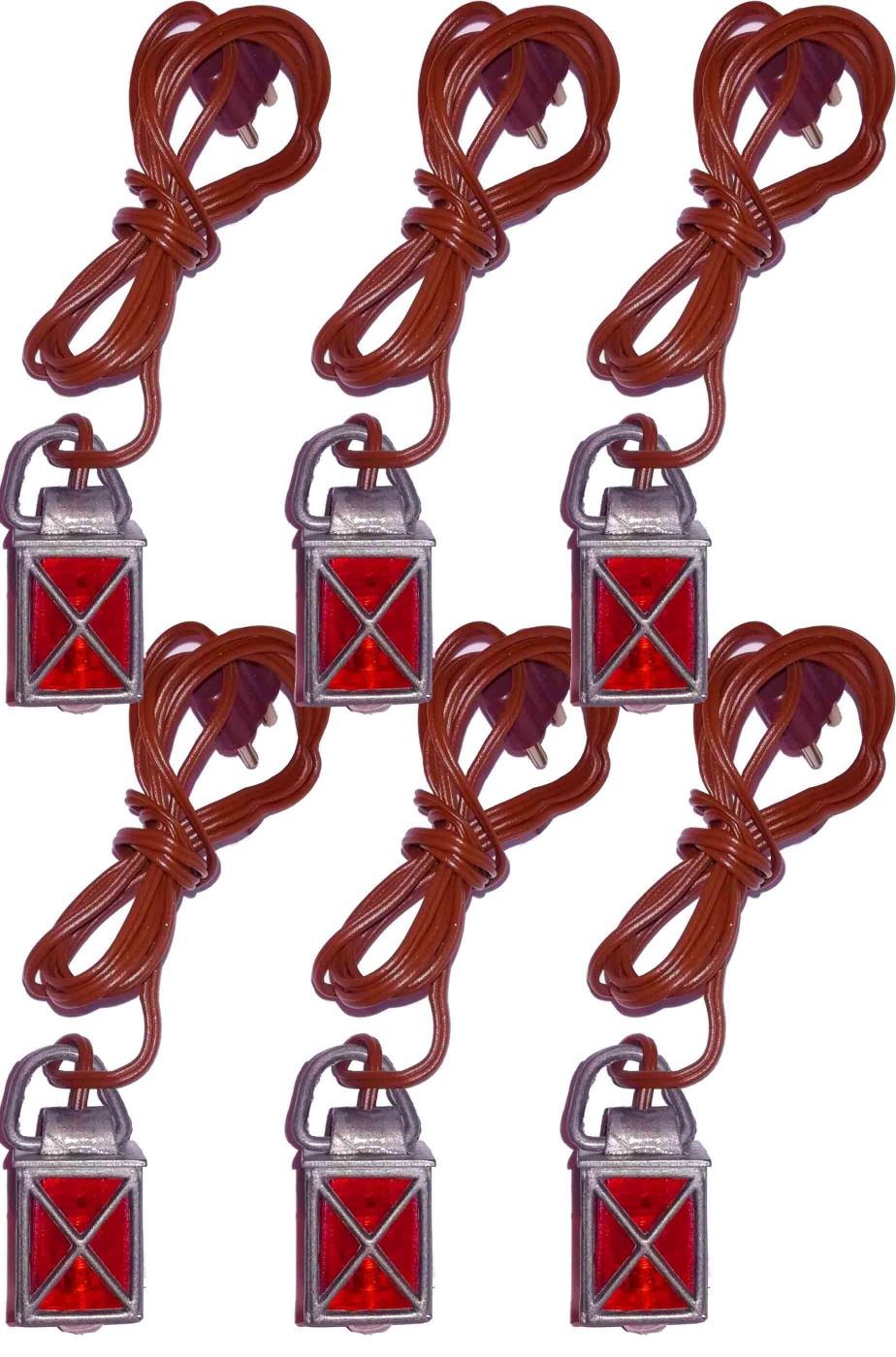 Pacchetto di sei lanterne rosse lanternine per presepe o diorami