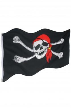 Bandiera dei pirati media con teschio bandana e ossa 86x55 cm