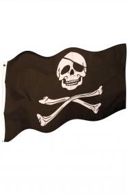 Bandiera pirata molto grande nera con teschio ed ossa cm 155 x 99