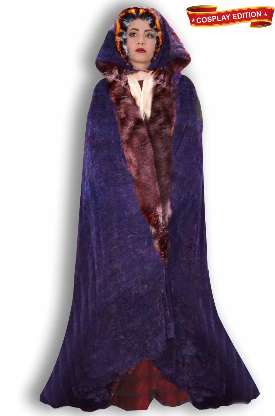 Mantello blu donna per LARP e Cosplay Lady Marion pelliccia fodera