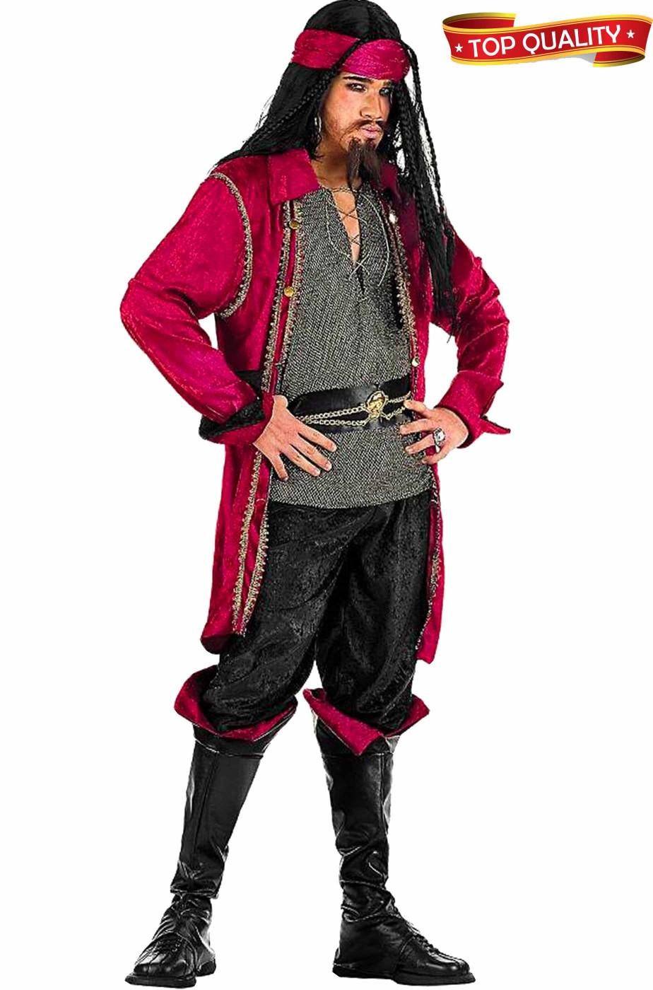 Costume uomo pirata corsaro rosso dei caraibi
