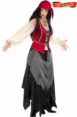 Costume donna pirata piratessa o corsara rossa