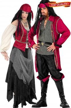 Coppia di costumi pirata e piratessa corsari dei caraibi