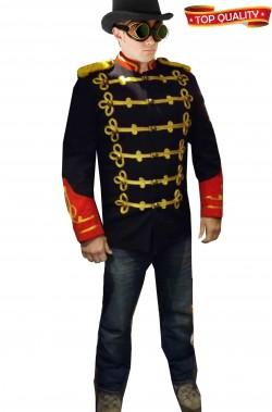 Giacca blu divisa di gala militare o da livrea con alamari stile steampunk