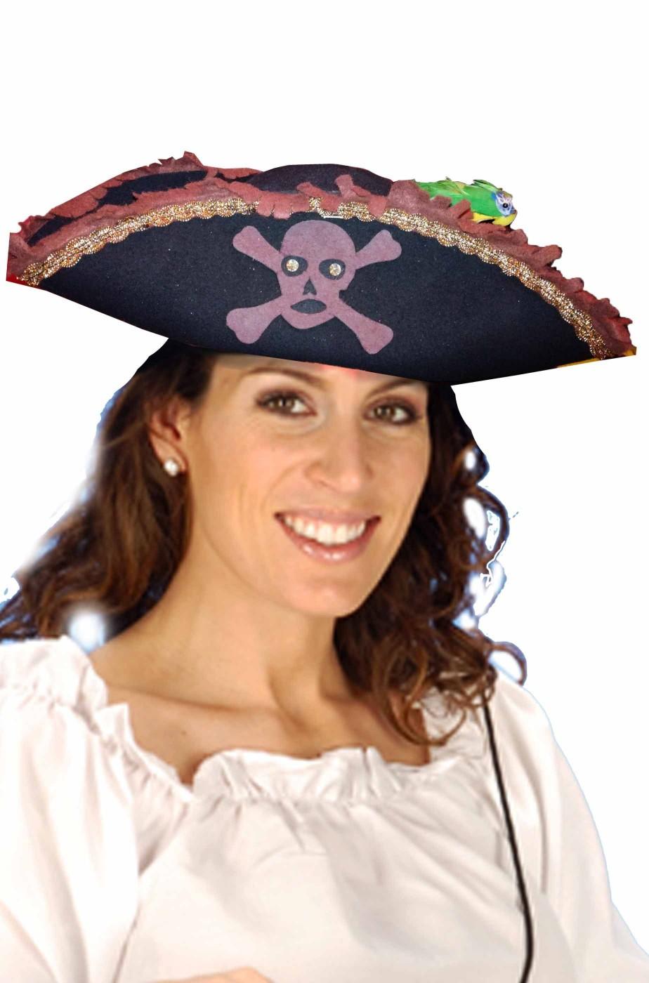 cappello di carnevale tricorno da pirata nero adulto con pappagallo 94f51afe3ec5