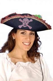 Cappello da pirata tricorno nero e marrone con pappagallo