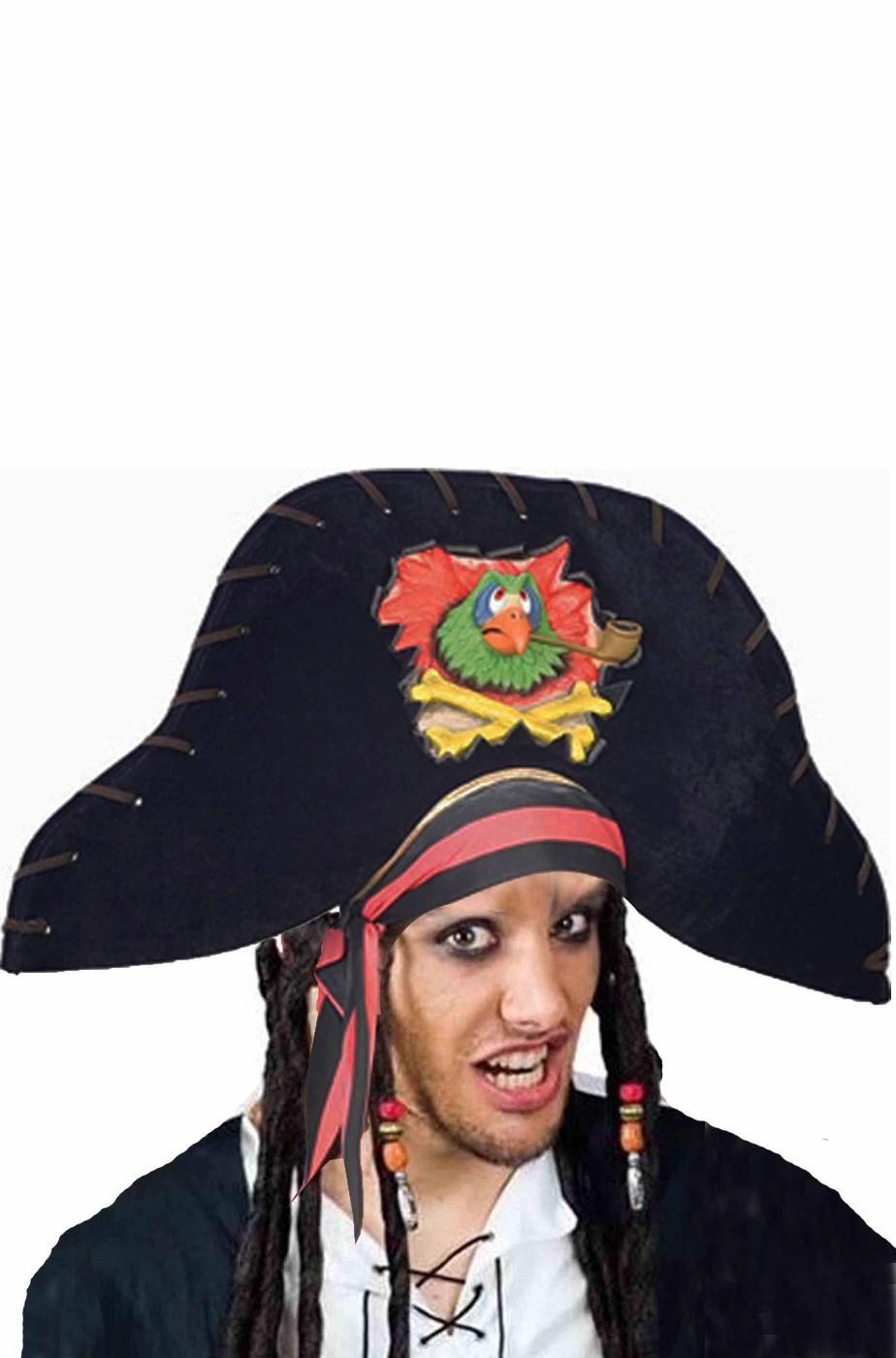 Cappello da pirata a feluca con grande pappagallo in rilievo