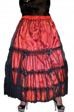 Gonna rossa con pizzo nero e rose stile spagnola flamenco