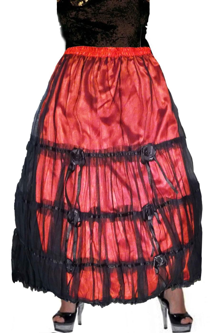 comprare popolare 40a7a f3451 Gonna vittoriana lunga rossa e nera con pizzo e rose da spagnola adulta