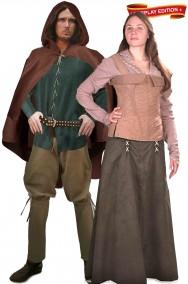 Coppia di costumi medievali Robin Hood e Lady Marian cosplay