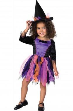 Costume carnevale Bambina Strega pipistrellina nera e viola
