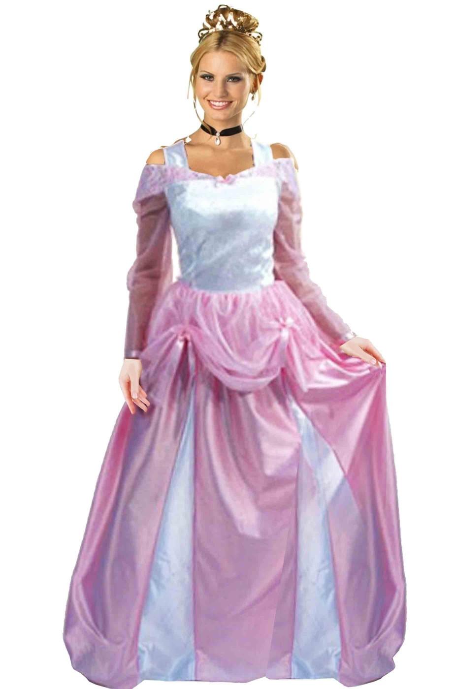 Vestito di carnevale adulta Principessa rosa Aurora lungo f84ccf0624f