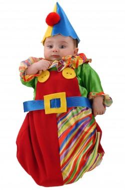 Costume di carnevale da bambino neonato clown pagliaccio a sacco