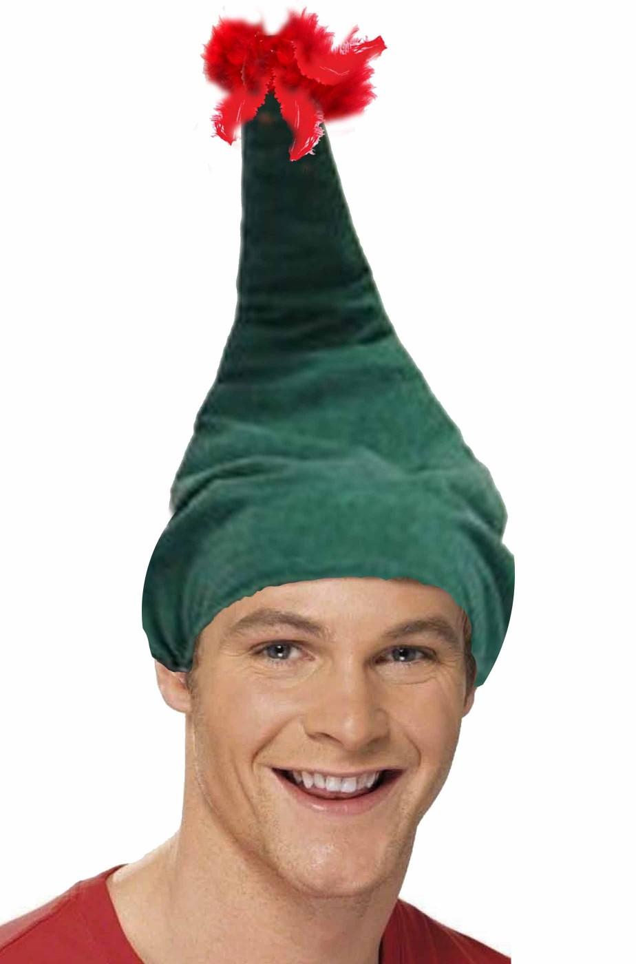 Cappello da elfo di Babbo Natale verde con ciuffo di piume rosso e20d1a12019b