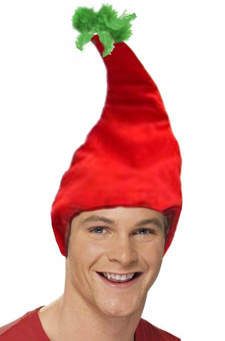 Cappello da elfo di Babbo Natale rosso con ciuffo di piume verdi c288e486adf4