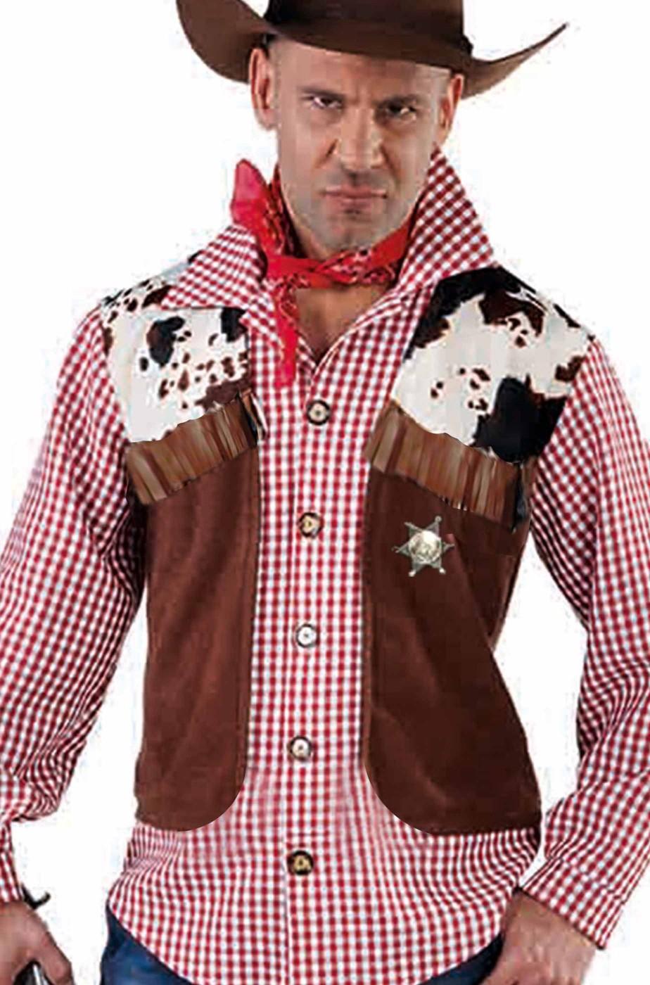 Gilet cowboy pezzato con frange taglia 48
