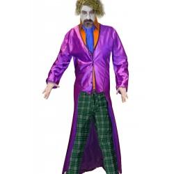 Giacca lunga viola a frac monocoda da Joker adulto
